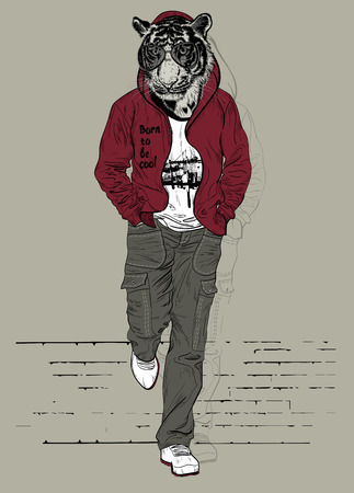 grunge teenager: Fashion man with the head of tiger for poster or t-shirt print