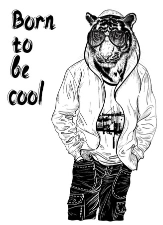 white tiger: Fashion design with man with the head of tiger for poster or t-shirt print black and white