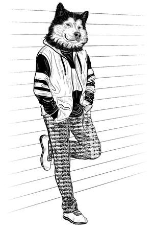 moda uomo con la testa di cane per il vostro disegno in bianco e nero