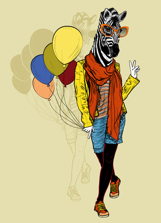 fashion: Vector illustration of Funny fashion zebra with balloons