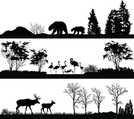野生動物と図のベクトルを設定