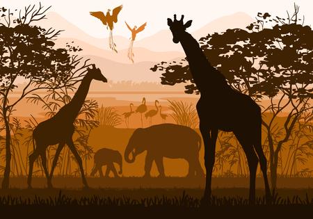Beauty of nature with wild animals giraffe, elephant, flamingo, paradisial bird Vettoriali