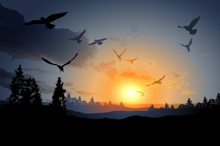 far away: illustration of forest landscape with flock of flying bird