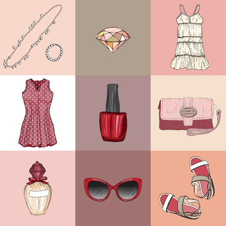 la mode ensemble de vêtements, accessoires et cosmétiques femme
