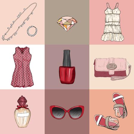 la moda conjunto de ropa, accesorios y cosméticos de la mujer Ilustración de vector