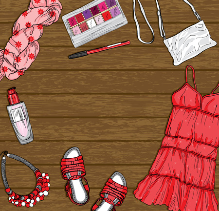 sundress: wooden background with red female fashion clothes and accessories