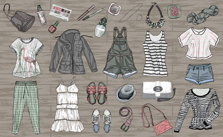 female spring and summer fashion collection of clothes and accessories