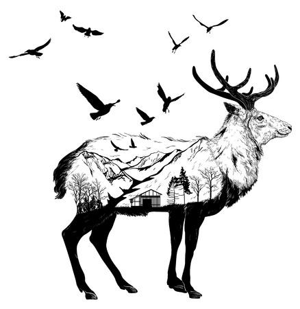 Hand getekende Herten voor uw ontwerp, wildlife concept Stock Illustratie