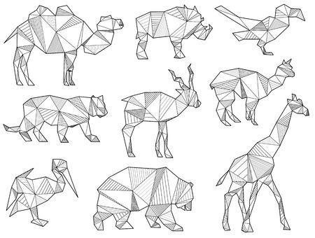 cormorant: set of origami wild animal silhouettes (camel, wild boar, bird, Parrot, Lion, Tiger, Antelope, alpaca, Lama, giraffe, bear, Grizzly, cormorant) Illustration