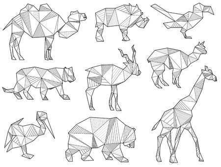 set van origami wilde dieren silhouetten (kameel, wilde zwijnen, vogel, papegaai, leeuw, tijger, Antilope, alpaca, lama, giraf, beer, Grizzly, aalscholver)