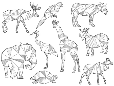 antelope: set of origami animal silhouettes (Elk, Parrot, horse, ground squirrel, elephant, giraffe, goat, turtle, Antelope) Illustration