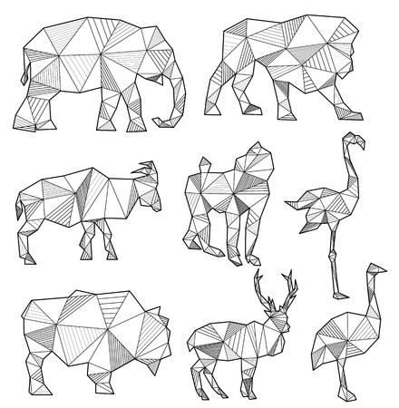 insieme di sagome di animali origami (elefante, leone, capra, scimmia, fenicottero, toro, cervo, struzzo)