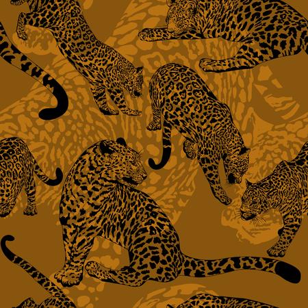 Patrón sin fisuras con el leopardo salvaje, Ilustración