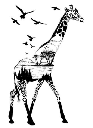 giraffe voor uw ontwerp, wild-concept Stock Illustratie
