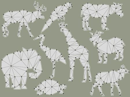heron: vector set of origami animal silhouettes (Elk, Parrot, horse, ground squirrel, elephant, Heron, giraffe, goat, turtle, Antelope)
