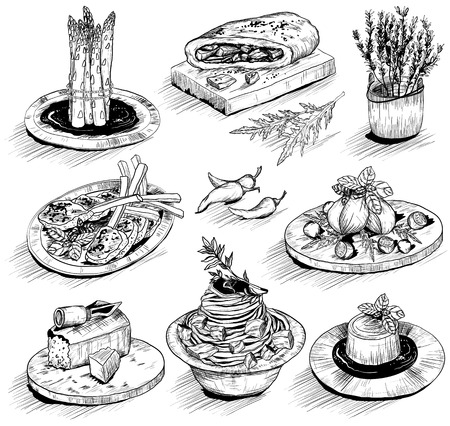 mediterranean food: hand drawn illustration with Mediterranean food