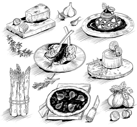 grilled vegetables: hand drawn illustration with Italian food Illustration