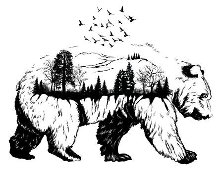 Double exposition, main ours dessiné pour votre conception, le concept de la faune