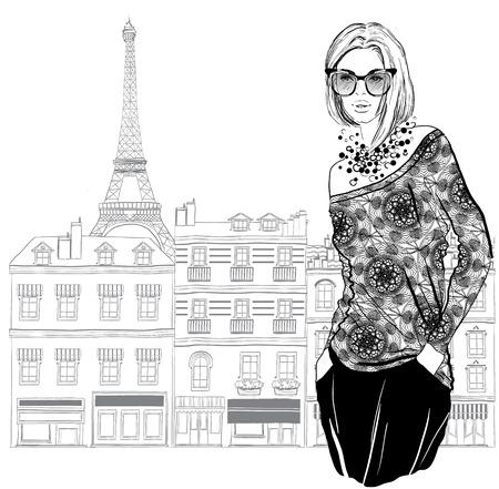 Modelo de la mujer con una gafas de sol en el fondo de la ciudad de París, ilustración vectorial