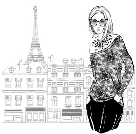 Fashion woman model with a sunglasses on Paris city background,  vector illustration Stock Illustratie