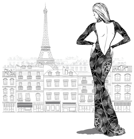 Fashion woman model in a beautiful dress on Paris city background,  vector illustration Vettoriali