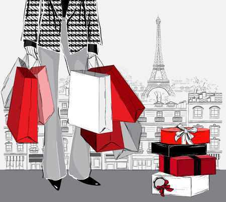 woman carrying shopping bags and pile of wrapped gift boxes on Paris city background, vector illustration
