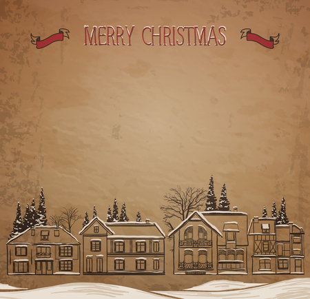 Christmas landscape. European Houses in the winter. Vector illustration.