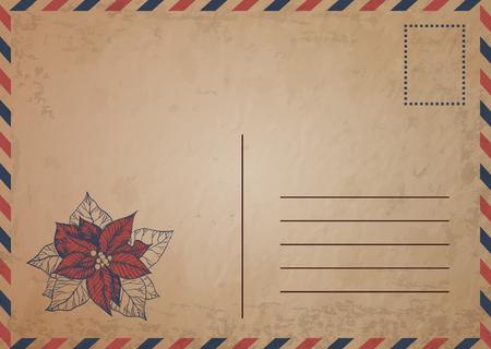 postcard box: Vintage postcard with red poinsettia flowers (Euphorbia pulcherrima)