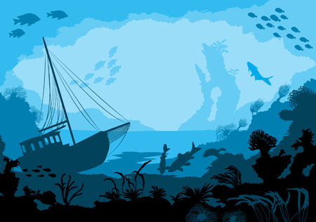 moray: Sea underwater world with different animals, vector illustration Illustration