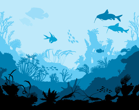 moray: Ocean underwater world with animals, vector illustration