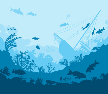 moray: Undersea world, coral reef and sea creatures, vector illustration