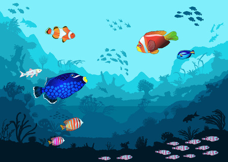 Sea underwater world with bright fish and animals, vector illustration