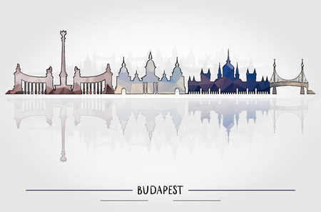 Business Travel and Tourism Concept with Historic Budapest Architecture, vector illustration