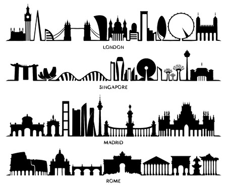 City Silhouette, Vector Illustration design (London, Singapore, Madrid, Rome)