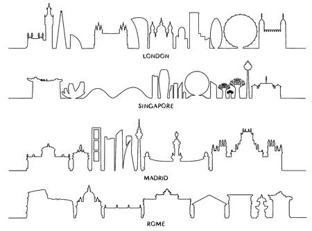 Stadsgezicht, vectorillustratieontwerp (Londen, Singapore, Madrid, Rome)