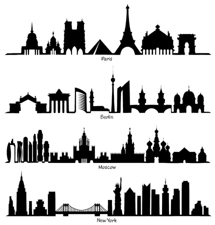 Set of vector Skyline silhouette (Paris, Berlin, Moscow and New York)