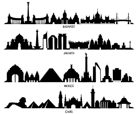 Skyline with Historic Architecture, line vector illustration. Mexico, Budapest, Jakarta and Cairo