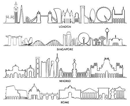 Cityscape Building Line art, Vector Illustration design (London, Singapore, Madrid, Rome)