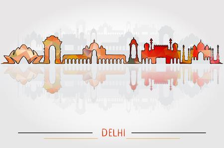 Vector Delhi City Silhouette with city silhouette Design