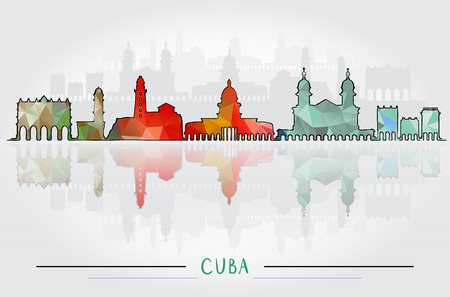Vector Cuba City Silhouette with city silhouette Design Illustration