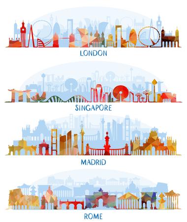 Vector illustration of Skyline flat  set (London, Singapore, Madrid, Rome)