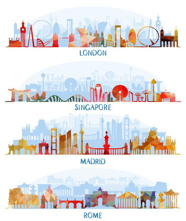 Vector illustratie van Skyline flat set (Londen, Singapore, Madrid, Rome)