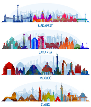 Set van vector architectuur (Mexico, Boedapest, Jakarta en Caïro)