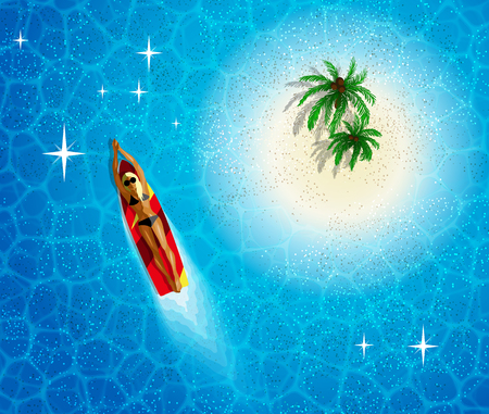 Paradise island aerial view. Tanned girl swimming near an uninhabited island