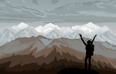 mountaineering: Hiker enjoying landscape with mountains.