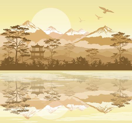 Paesaggio giapponese con foresta, lago e montagne Vettoriali