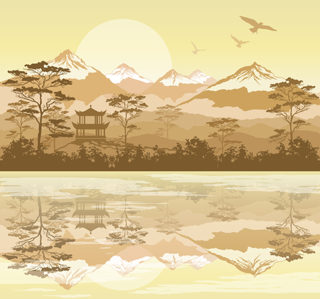 Paisaje japonés con bosque, lago y montañas Ilustración de vector