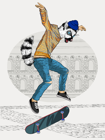 Jumping Ring-tailed lemur with a skateboard