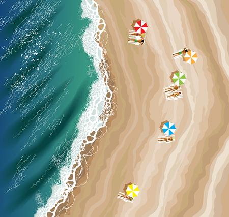 Widok z góry na plażę Ilustracje wektorowe