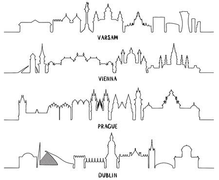 라인 아트, 역사적인 건축, 벡터 일러스트와 스카이 라인. 바르샤바, 비엔나, 프라하, 더블린